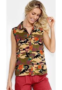 Camisa Lily Fashion Sem Manga Camuflada Feminina - Feminino-Verde+Laranja