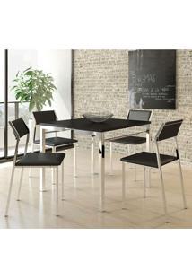 Mesa 1525 Com 4 Cadeiras 1709 Cromada Preta Carraro