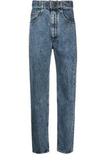 Maison Margiela Calça Jeans Cintura Alta Com Cinto - Azul
