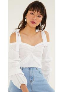 Blusa Cropped Com Franzidos & Amarraã§Ã£O - Off White-Pop Up