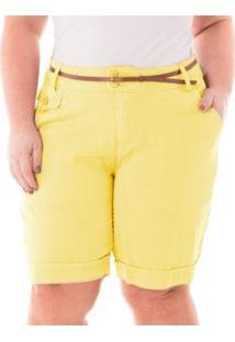 Bermuda Alfaiataria Com Bolso Plus Size Confidencial Extra Feminina - Feminino-Amarelo