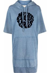 Michael Michael Kors Vestido Com Capuz E Estampa De Logo - Azul