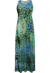 Vestido Pau A Pique Longo Estampado Verde - Kanui