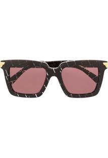 Bottega Veneta Eyewear Óculos De Sol Quadrado Bv1005Sa - Roxo
