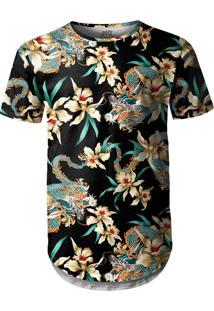 Camiseta Longline Over Fame Flor E Dragão Chines Preta