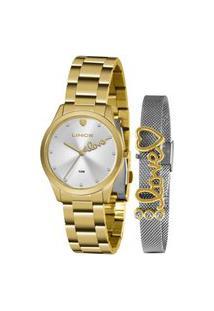 Kit Relógio Feminino Lince Analógico Dourado - Lrg4668L-Kz96S1Kx Dourado