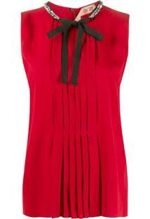 Nº21 Blusa Com Pregas E Laço Na Gola - Vermelho