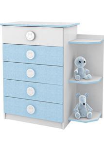 Cômoda Branco/Azul 5 Gavetas Com Prateleiras Externas - Rodial