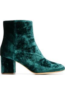 Twin-Set Ankle Boot Salto Bloco De Veludo - Green