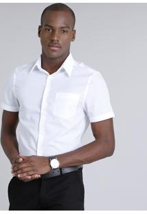 Camisa Masculina Comfort Maquinetada Com Bolso Manga Curta Off White