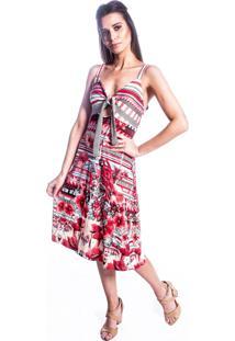 Vestido Carbella Decote Laço Vermelho Floral Estampado