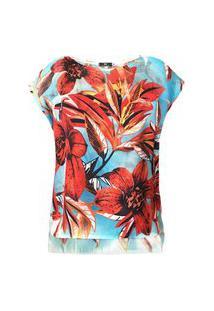 Blusa Estampada 101 Resort Wear Crepe Flores Vermelhas