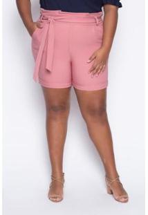 Shorts Almaria Plus Size Alt Brand Paperbag Feminino - Feminino-Rosa