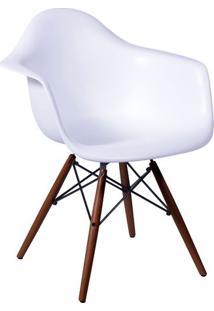 Poltrona Eames Dar- Branca & Madeira Escura- 82X62X4Or Design