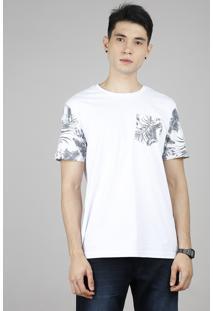 Camiseta Masculina Com Bolso Estampado De Folhagem Manga Curta Gola Careca Branca
