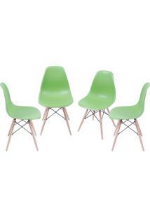 Jogo De Cadeiras Eames Dkr- Verde & Bege- 4Pã§S- Or Design