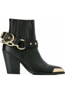 Versace Jeans Couture Bota Cowwboy Com Detalhe De Corrente - Preto