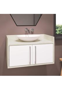 Gabinete Para Banheiro 2 Portas Bill Estilare Móveis Branco/Madeirado