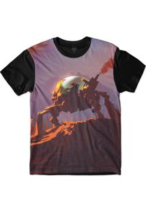 Camiseta Insane 10 Sci-Fi Andando De Robô Sublimada Roxo Fosco
