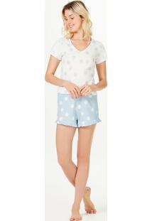Pijama Feminino Curto Com Babados Estampado