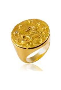 Anel Zodiaco Capricornio Amarelo C/ Diamante Chocolate - 17