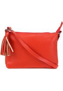 Bolsa Couro Santa Lolla Floater Mini Bag Feminina - Feminino-Vermelho Claro