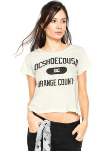 Camiseta Cropped Dc Shoes Rollin Off White