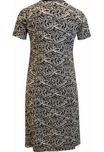 Vestido Pau A Pique Estampado - Feminino-Preto
