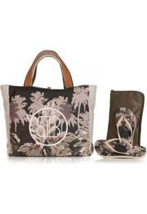 Kit Chinelo Blue Bags + Necessarie + Bolsa De Praia Folhagem - Feminino