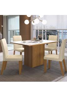 Mesa De Jantar 4 Lugares Emporium Com Vidro Branco Seda/Champanhe - Viero Móveis