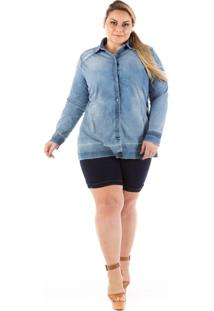 Camisa Jeans Plus Size - Confidencial Extra Slin Destroyed Azul
