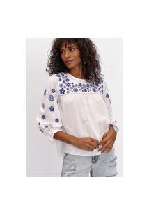 Blusa Em Voil Bordada Lança Perfume Blusa Branco