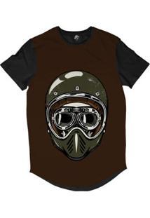 Camiseta Longline Bsc Caveira De Capacete Musgo Sublimada - Masculino-Marrom