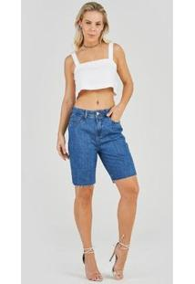 Bermuda Jeans Express Mom Isadora Feminina - Feminino-Azul