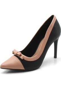 Scarpin Dafiti Shoes Laço Preto/Nude