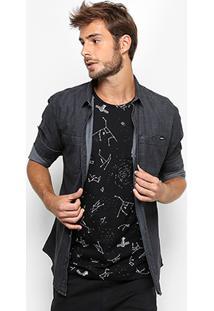 Camisa Jeans Colcci Slim Fit Black Masculina - Masculino-Jeans