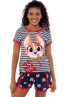 Pijama Manga Curta Adulto Puket Corgi Azul Marinho - Tricae