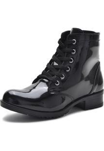 Bota Coturno Cr Shoes Verniz Preta