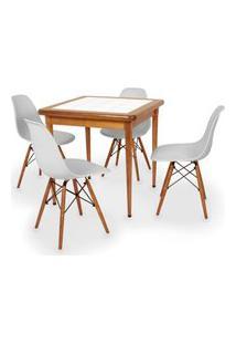 Conjunto Mesa De Jantar Em Madeira Imbuia Com Azulejo + 4 Cadeiras Eames Eiffel - Cinza