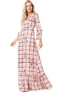 Vestido Enfim Longo Mix Rosa