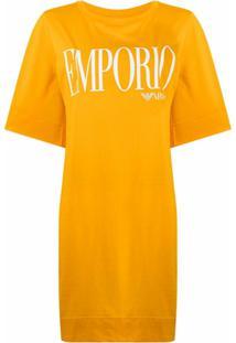 Emporio Armani Logo-Print Cotton T-Shirt Dress - Amarelo