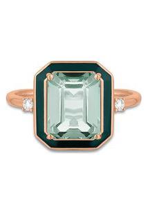 Anel Policroma Ouro Rosé Quartzo Verde E Diamantes Grande