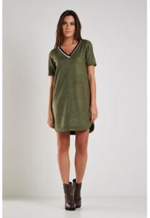 Vestido Sacada Malha Recortes - Feminino-Verde Militar