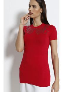 Camiseta Com Termocolantes Aplicados - Vermelha & Prateaversace Collection