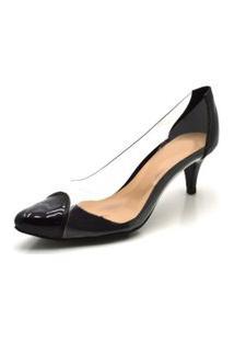 Sapato Scarpin Salto Baixo Em Napa Preta Com Transparência