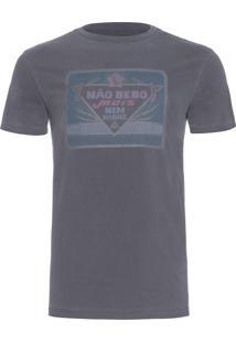 Camiseta Masculina Estampada Não Bebo Mais - Cinza