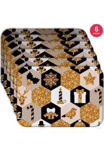 Jogo Americano Love Decor Wevans Natal Moderno Kit Com 6 Pçs