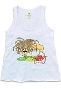 Camiseta Regatageek Cool Tees Quadrinhos Leão Jamaica Bob Marley Feminina - Feminino-Branco
