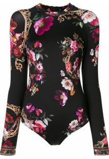 Camilla Camisa Mangas Longas Com Estampa Floral - Preto