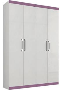 Guarda-Roupa Duo Com Espelho - 4 Portas - Branco Com Lilás Guarda-Roupa Duo - 4 Portas - Branco Com Lilás